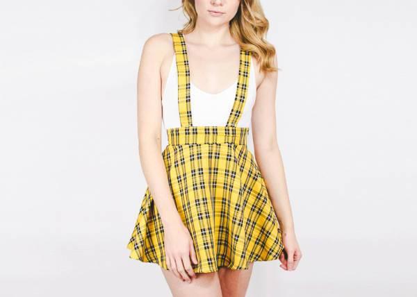 yellow plaid skater skirt