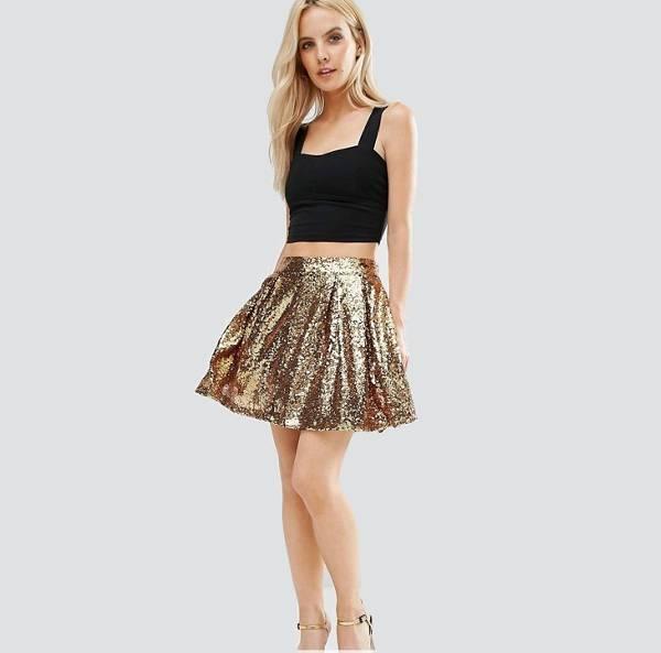 gold sequin skater skirt