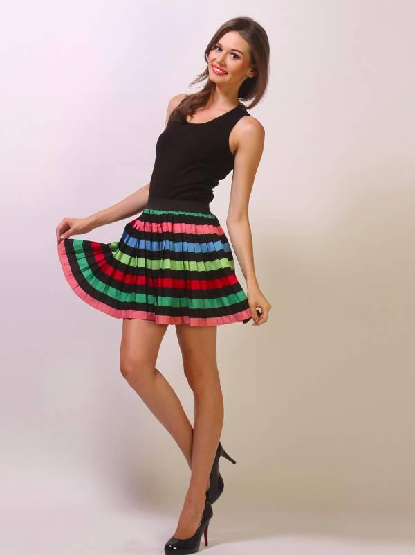 neon striped skater skirt