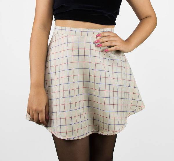 tan grid pattern skater skirt