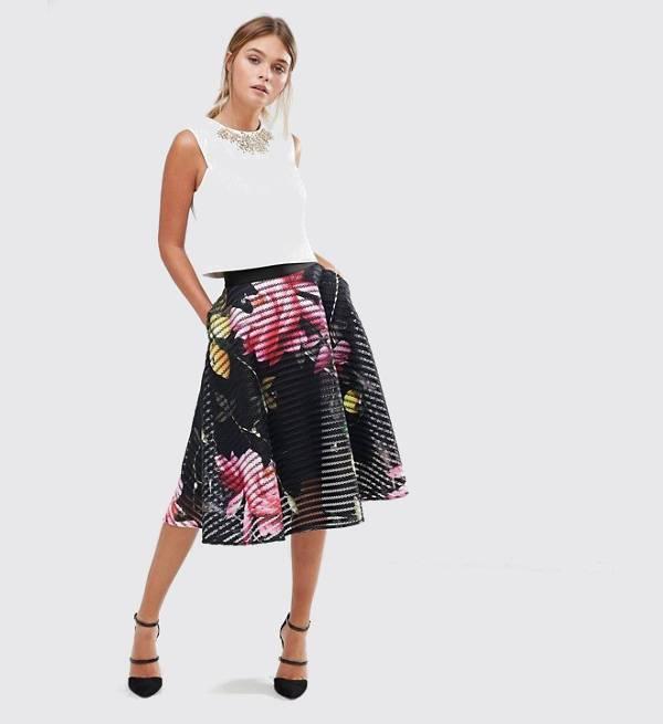 black mesh skater skirt outfit
