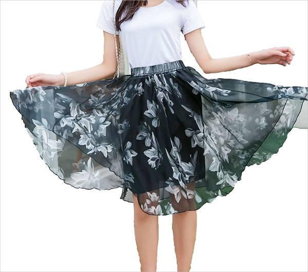 chiffon skater floral skirt