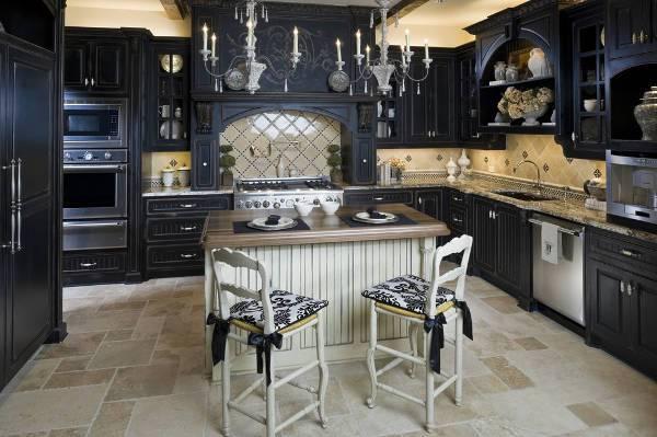 black wood kitchen storage cabinets