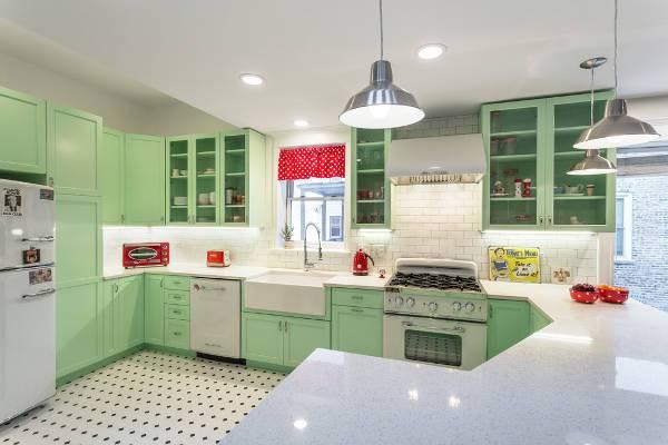 vintage green kitchen storage cabinets