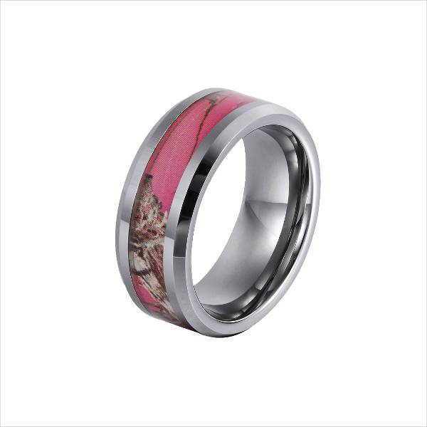 Camo Pink Wedding Rings For Women