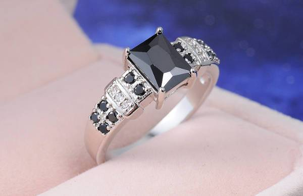 Square Black Diamond Wedding Ring For Women