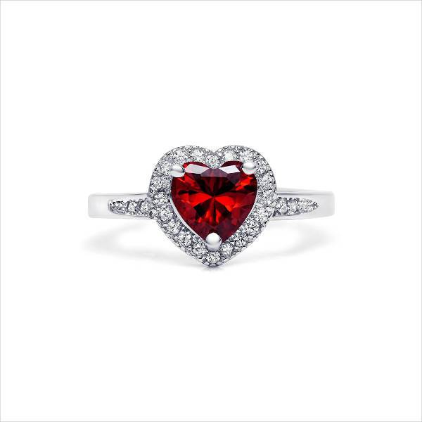 Sterling Silver Heart Shaped Wedding Ring For Women