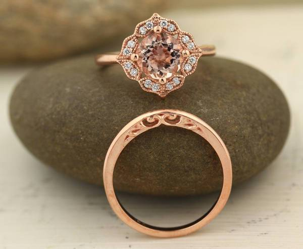 Floral Rose Gold Wedding Ring For Women