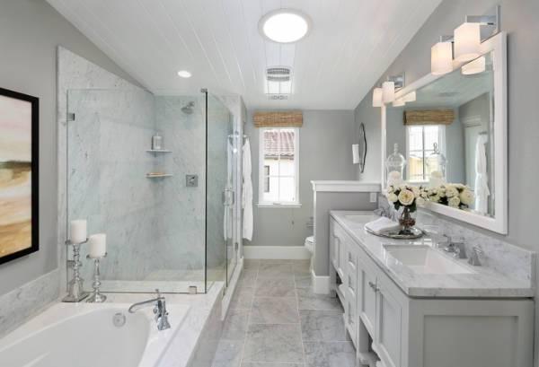 bathroom white frame wall mirror design1