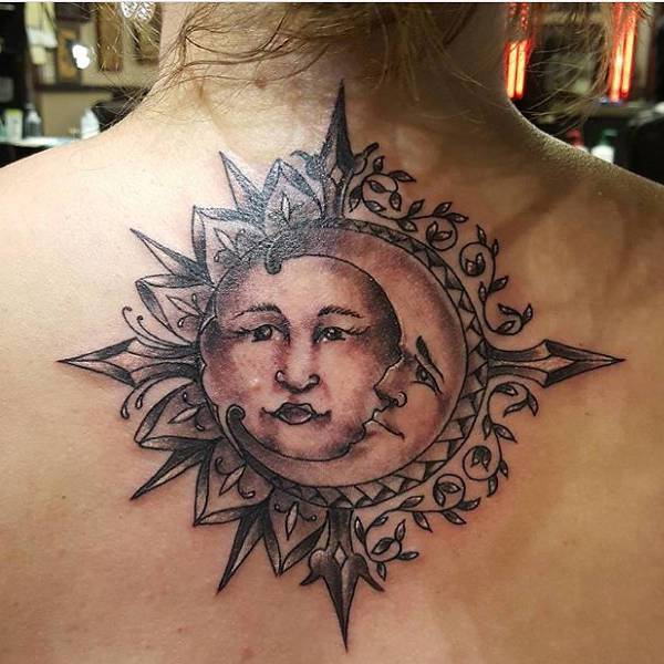 Sun Tattoo on Bellow Neck