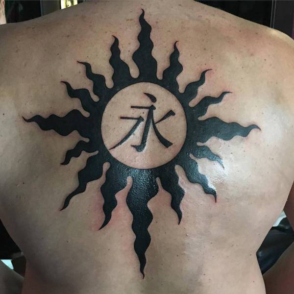 Tribal Sun Tattoo for Back