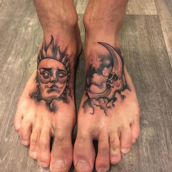 Sun and Moon Tattoo on Foot