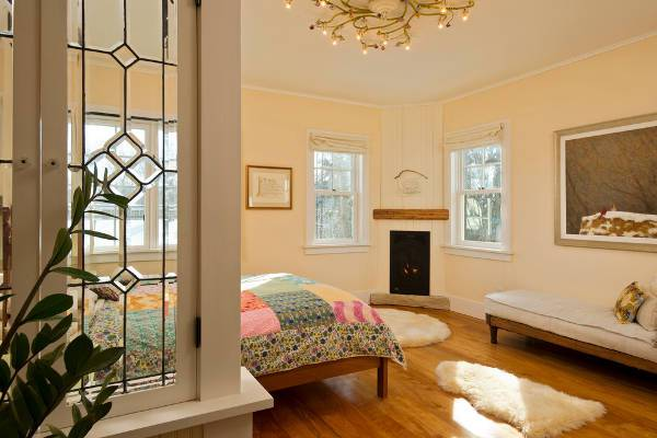 small bedroom corner fireplace