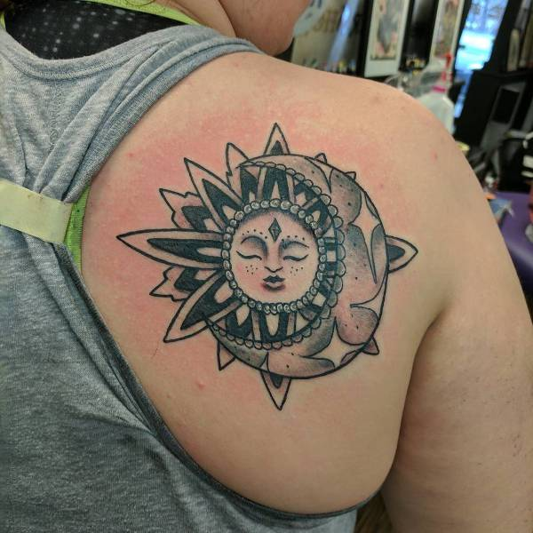 Sun and Moon Tattoo on Shoulder