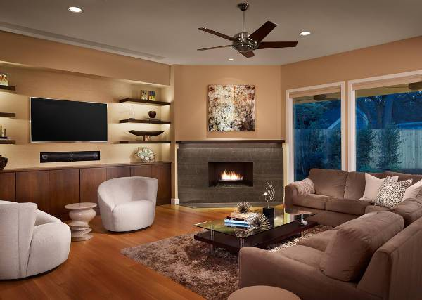 living room built in corner fireplace