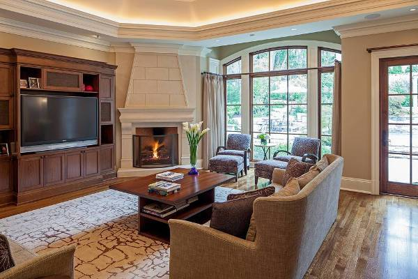 traditional built in corner fireplace