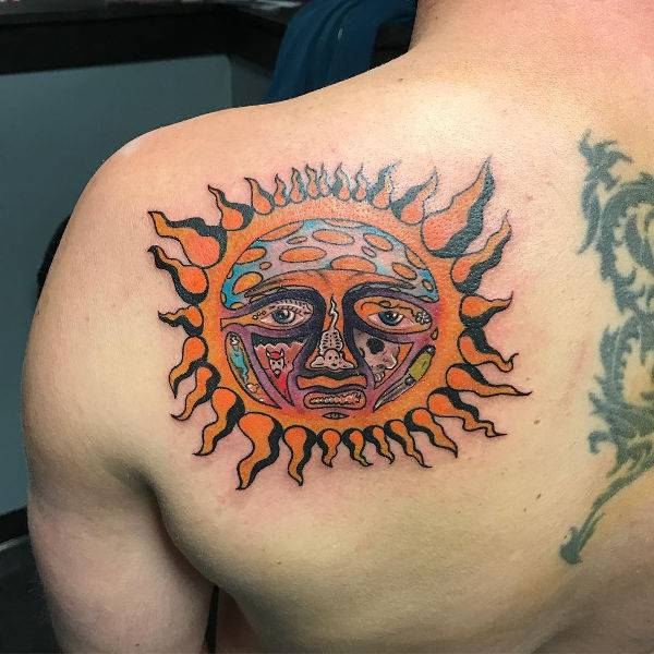 Rising Sun Tattoo on Shoulder