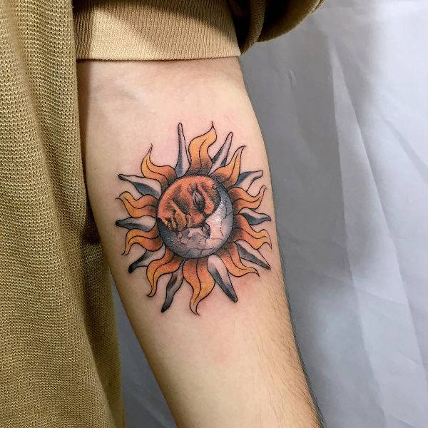 Rising Sun Tattoo on Forearm