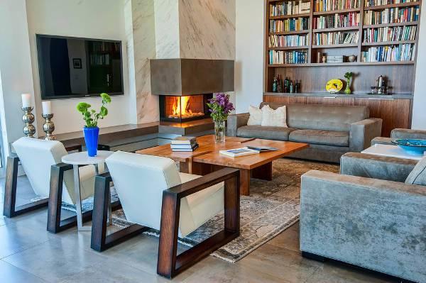 modern built in corner fireplace