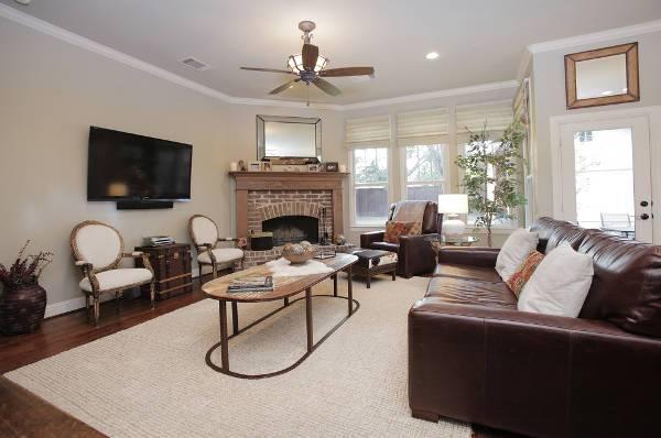 brick corner fireplace for living room