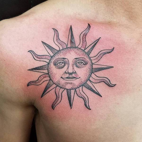 Sun Tattoo on Front Shoulder