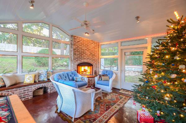 brick corner fireplace for porch