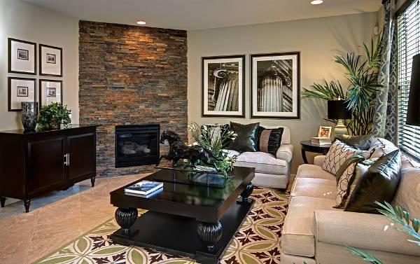 corner stacked stone fireplace design