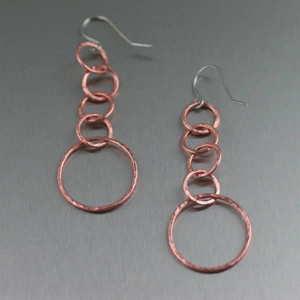 rose gold hoop dangle earrings