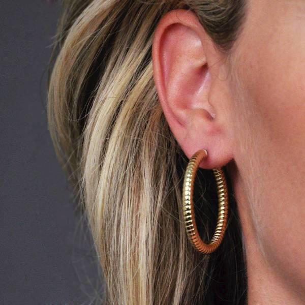 stainless steeel rose gold hoop earrings