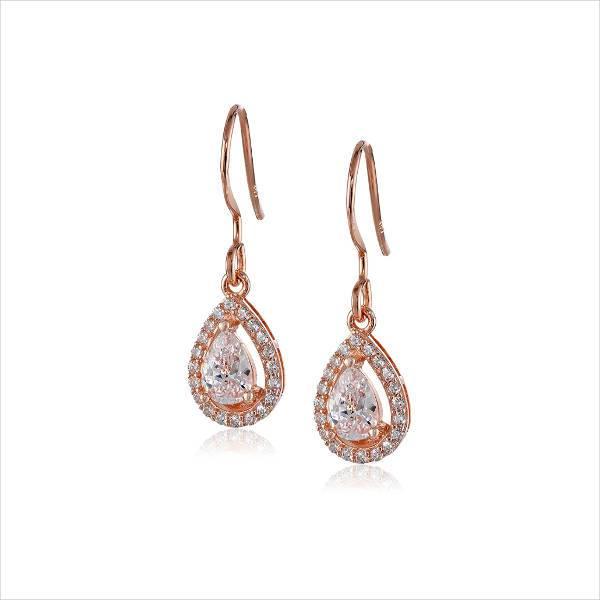 rose gold drop halo earrings