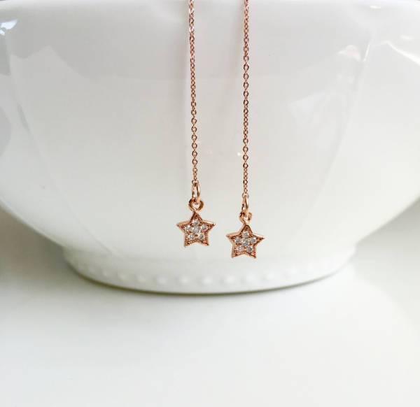 rose gold star long earrings