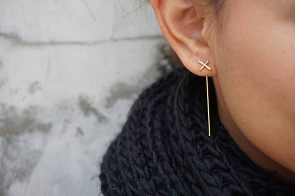 rose gold thin cross earrings