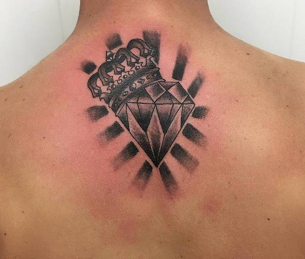Diamond With Crown Tattoo for Back