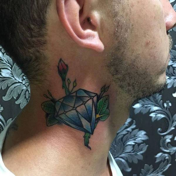 Traditional Diamond Tattoo On Neck