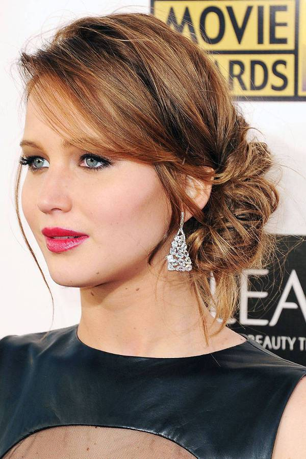 Jennifer Lawrence Low Side Bun Hairstyle