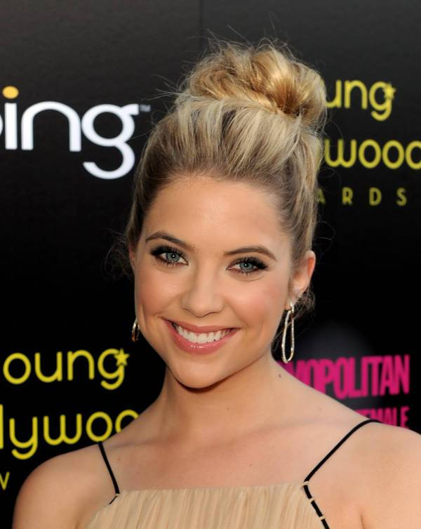 Ashley Benson Simple High Bun Hairstyle