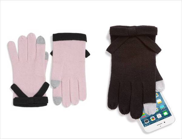 kate spade new york contrast bow tech friendly gloves