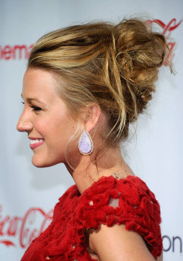 blake lively curly bun prom hairstyle