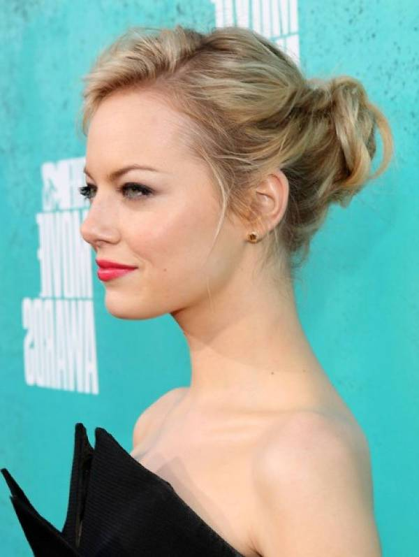 Emma Stone Prom Bun Hairstyle with Updo