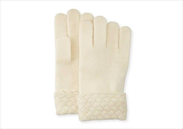 sofia cashmere basketweave trim tech gloves