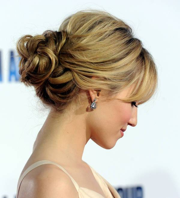 Dianna Agron Prom Bun Hairstyle with Bangs