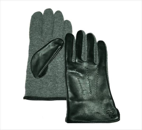 ralph lauren black leather wool touch gloves