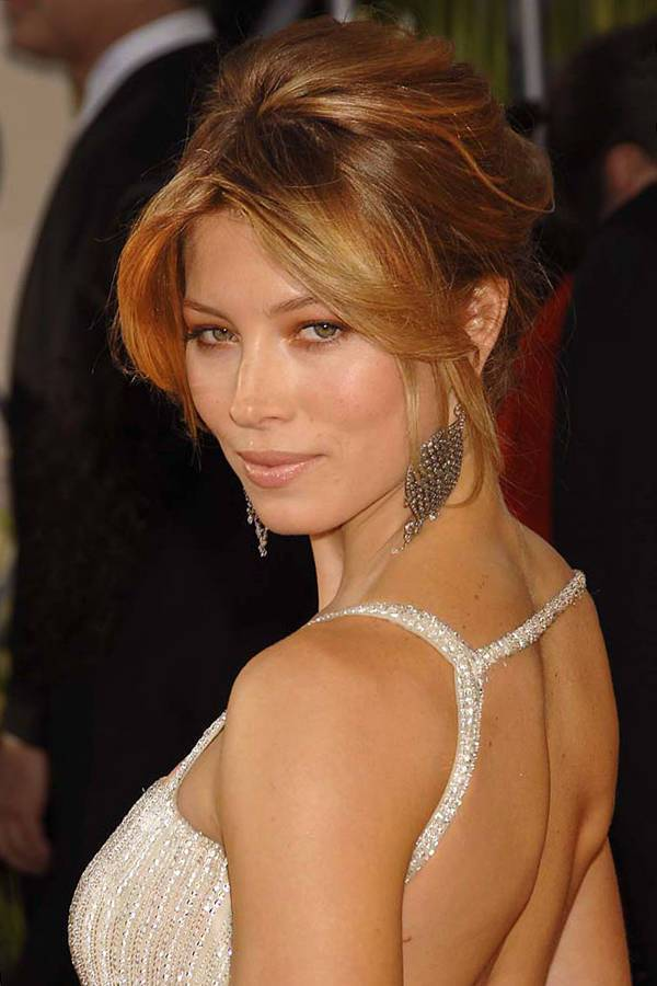 Jessica Biel Twist Messy Bun Hairstyle