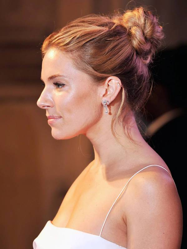 Sienna Miller Twist High Bun Hairstyle