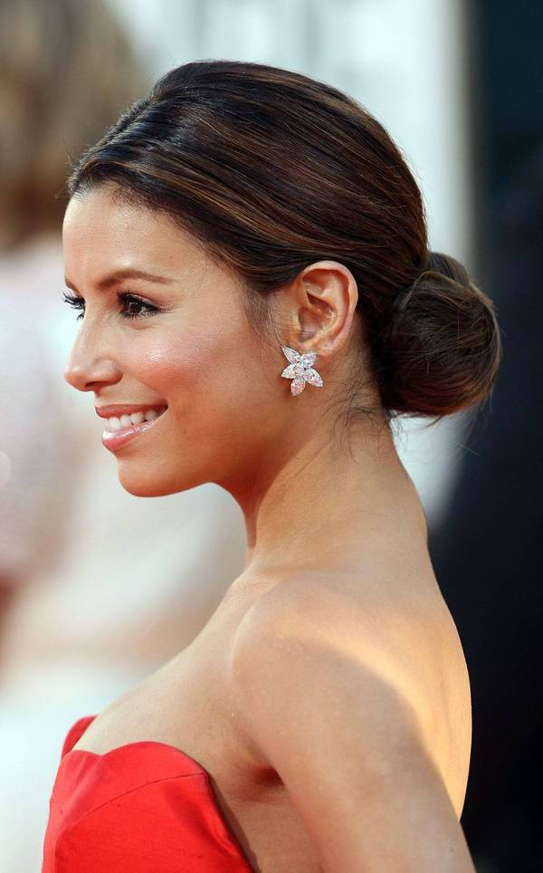 Eva Longoria Sleek Low Bun Hairstyle