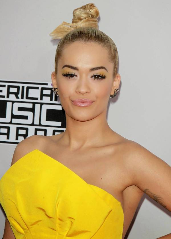 Rita Ora Pin Up Top Bun Hairstyle