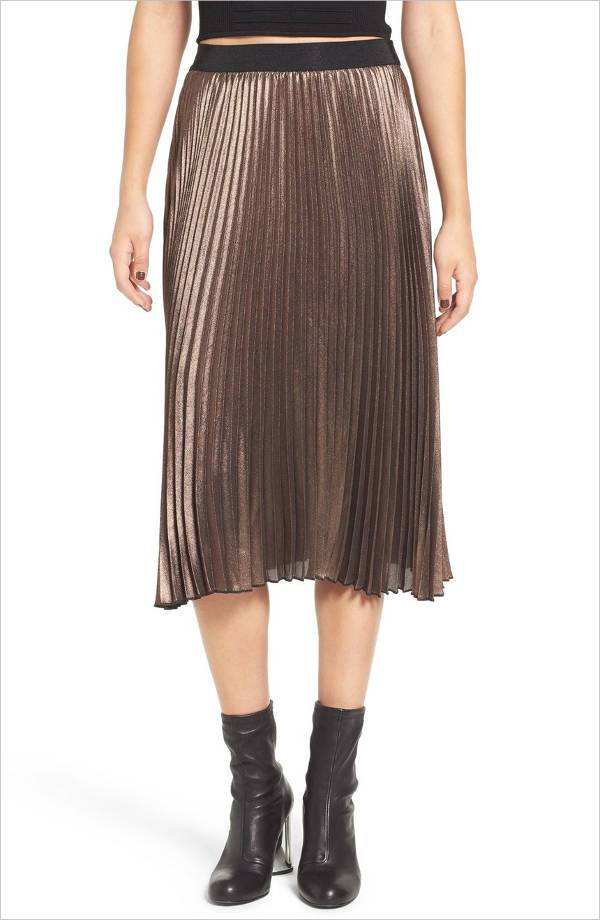 Pleated Midi Skirt for Women