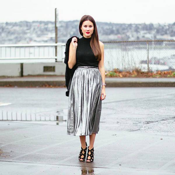 Metallic Pleated Full Skirt