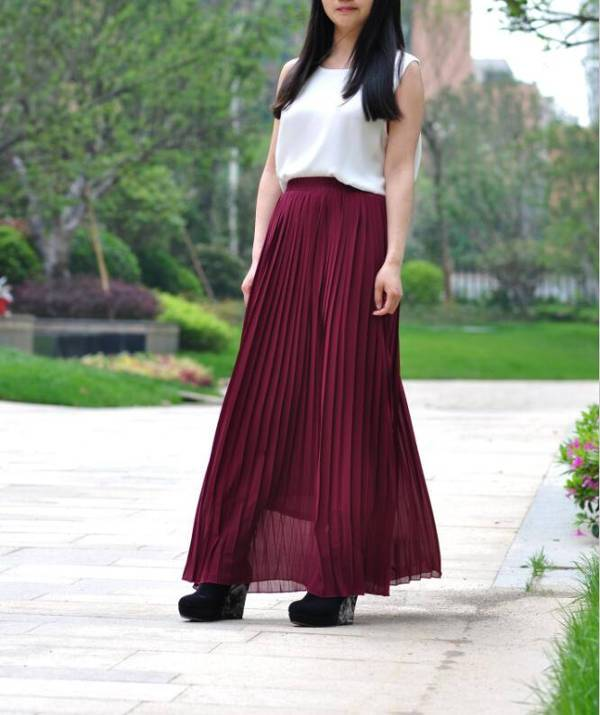 High Waist Chiffon Pleated Skirt