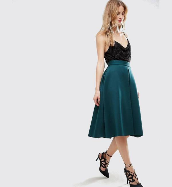 Pleated A Line Prom Skirt